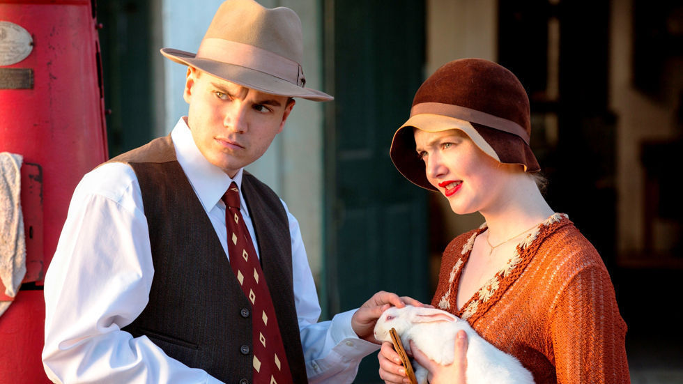 Holliday Grainger and Emile Hirsch in the Lifetime movie Bonnie & Clyde.