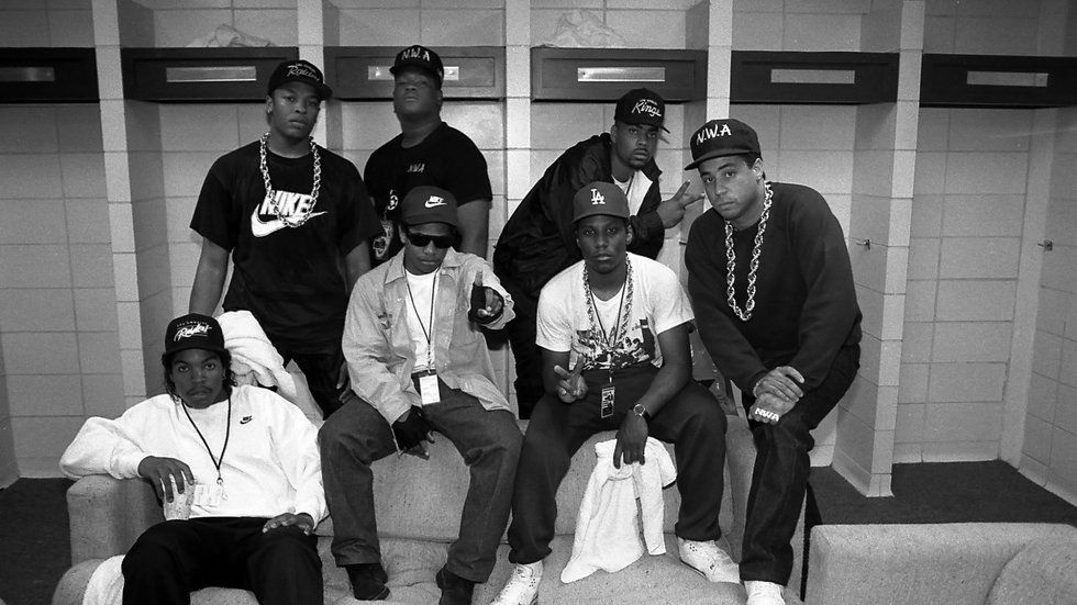 The members of NWA (Niggas With Attitude).
