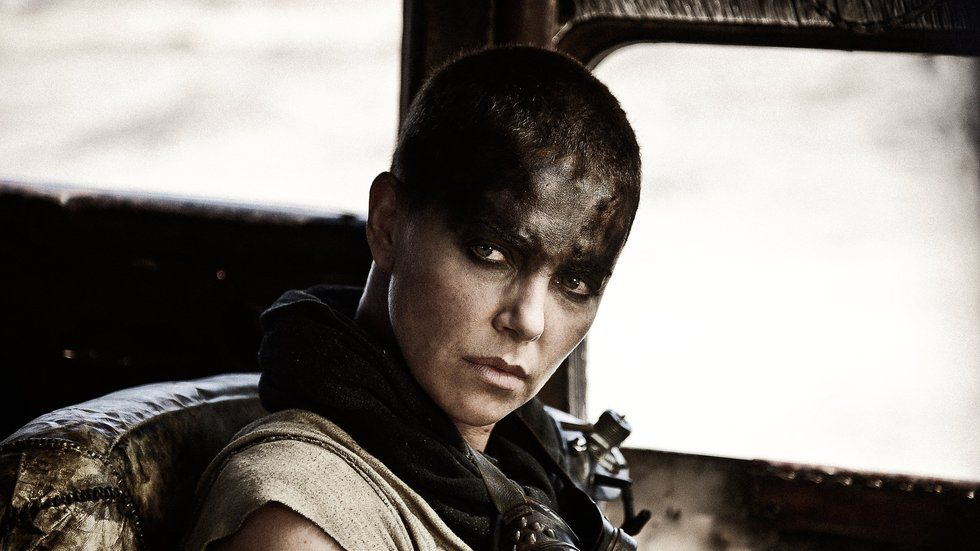 A still image of Charlize Theron from Mad Max: Fury Road.