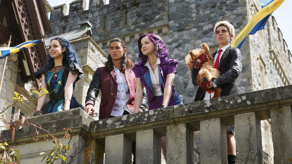 An image of Sofia Carson, Booboo Stewart, Dove Cameron and Cameron Boyce as Evie, Jay, Mal and Carlos in Disney's Descendants.