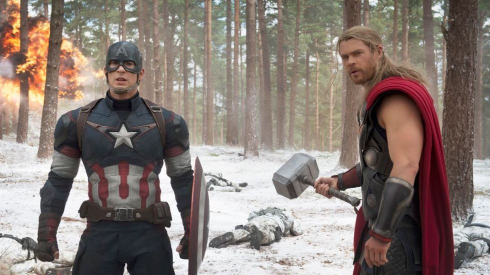 Chris Evans and Chris Hemsworth as Captain America and Thor in Marvel's Avengers: Age of Ultron.