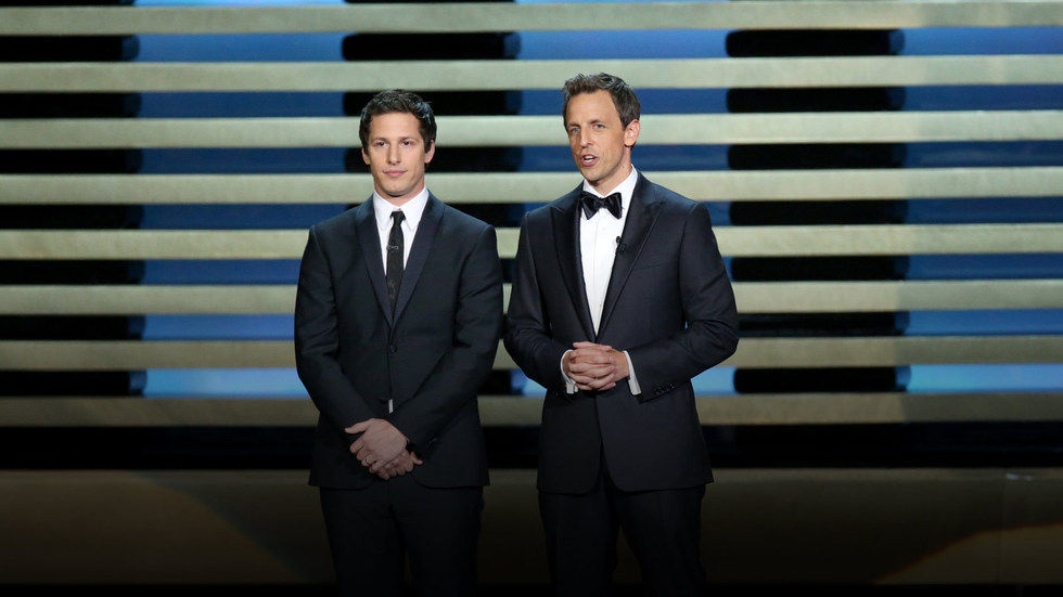 Andy Samberg and Seth Meyers at the 67th Annual Primetime Emmy Awards.