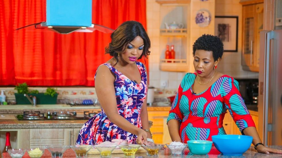 Marion in the kitchen with Wema Sepetu on Maisha Magic Bongo