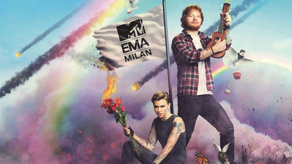 Hosts of the 2015 MTV EMAs Ed Sheeran and Ruby Rose .
