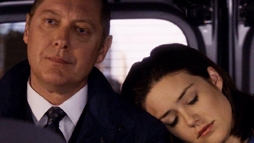 Reddington (James Spader) and Lizzie (Megan Boone) in The Blacklist S3.