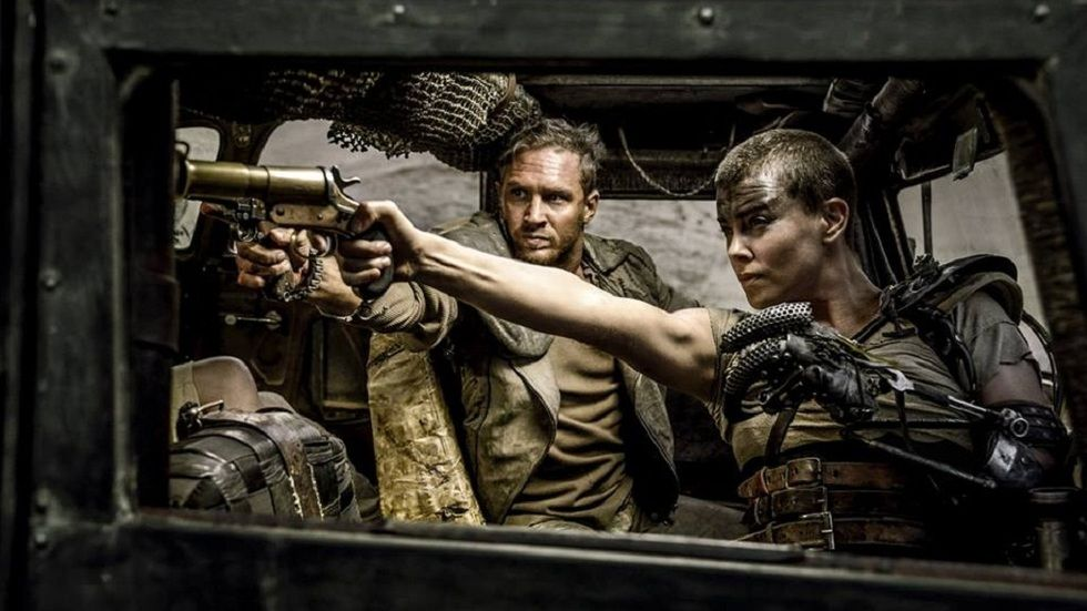 Tom Hardy as Max and Charlize Theron as Furiosa in Mad Max: Fury Road