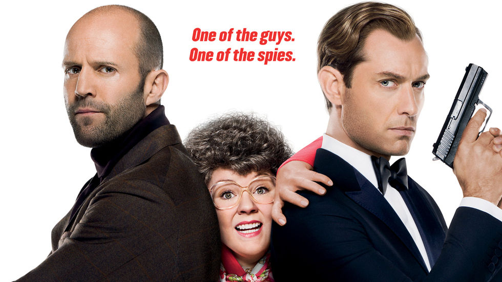 Jason Statham, Melissa McCarthy and Jude Law in Spy on BoxOffice this week.