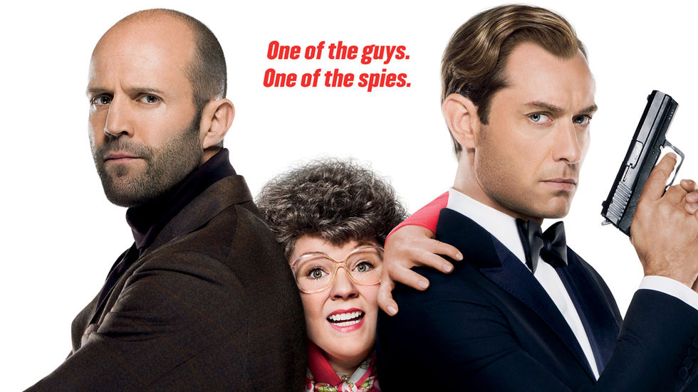 Jason Statham, Melissa McCarthy and Jude Law in a poster for the movie Spy.
