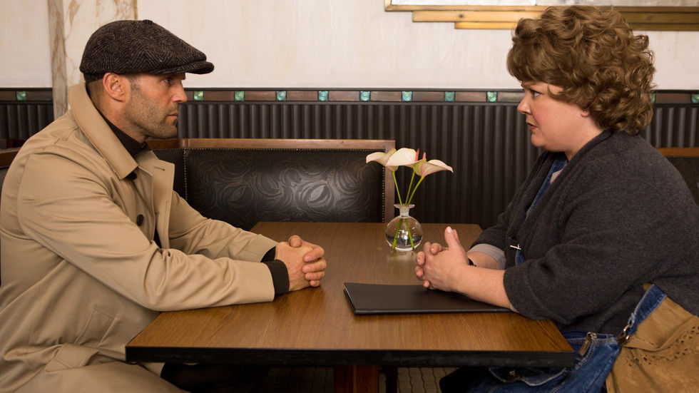 Jason Statham and Melissa McCarthy in the movie Spy.