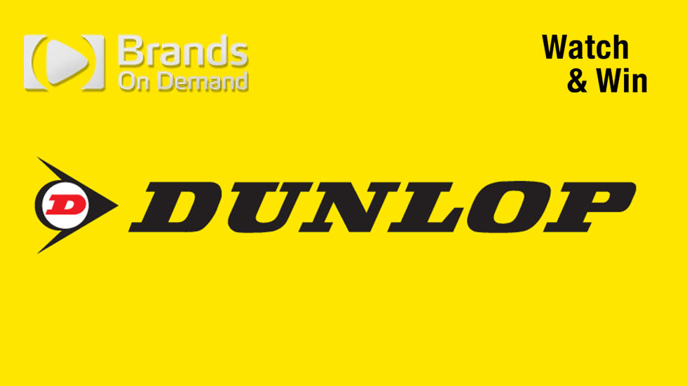 Brands on Demand - Dunlop logo with BOD logo and Watch & Win marking.