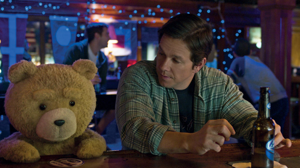 Ted and John (Mark Wahlberg) at the bar.