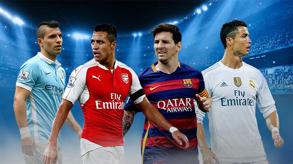 Football players for Barclays Premier League and La Liga