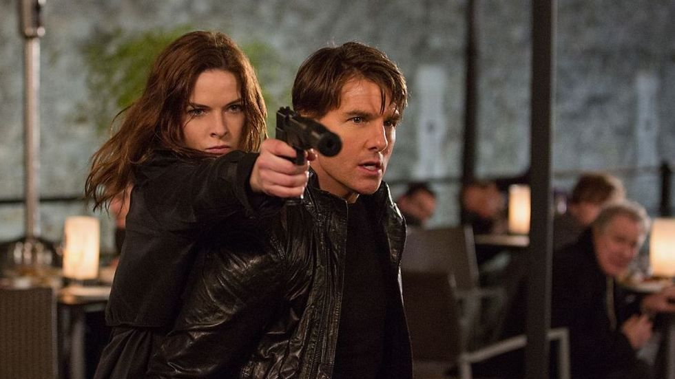 An image of Rebecca Ferguson and Tom Cruise in Mission: Impossible - Rogue Nation.