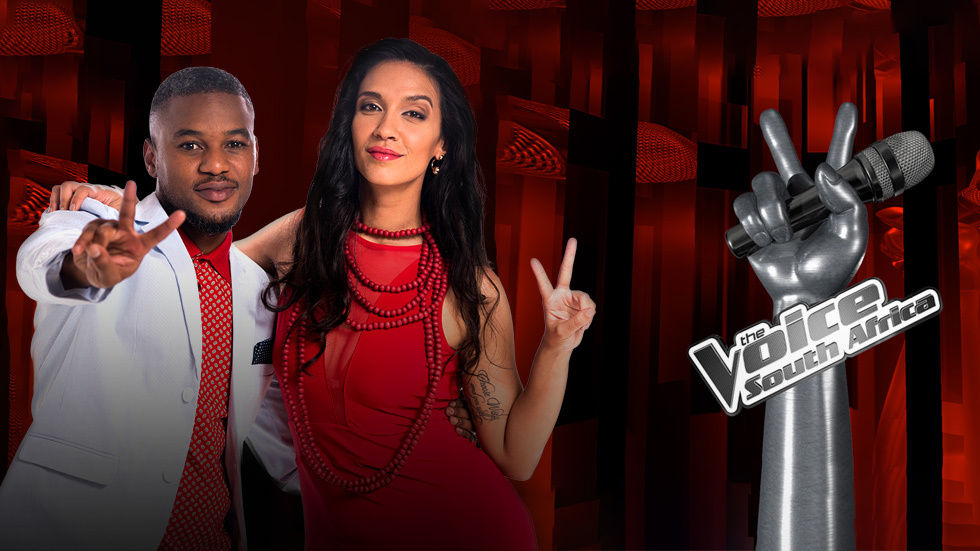 An image for The Voice SA with hosts Lungile Radu