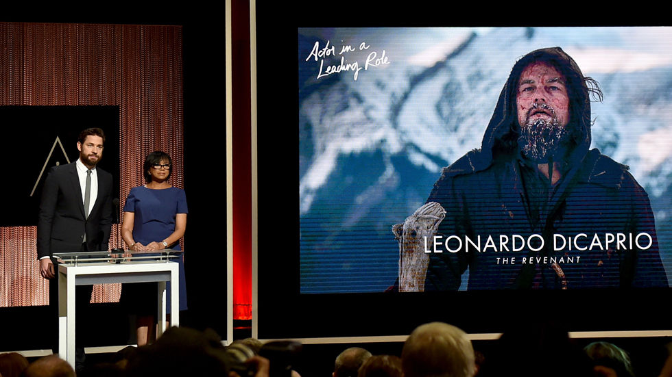 Leonardo DiCaprio announced as a Best Actor nominee for The Revenant at 2016 Oscars