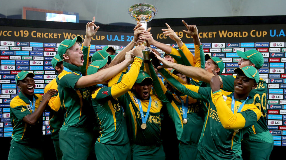 The u/19  South African team celebrating after winning the ICC Cricket World Cup.