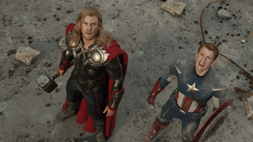 Chris Hemsworth as Thor and Chris Evans as Captain America in the Hollywood blockbuster Avengers: Age of Ultron