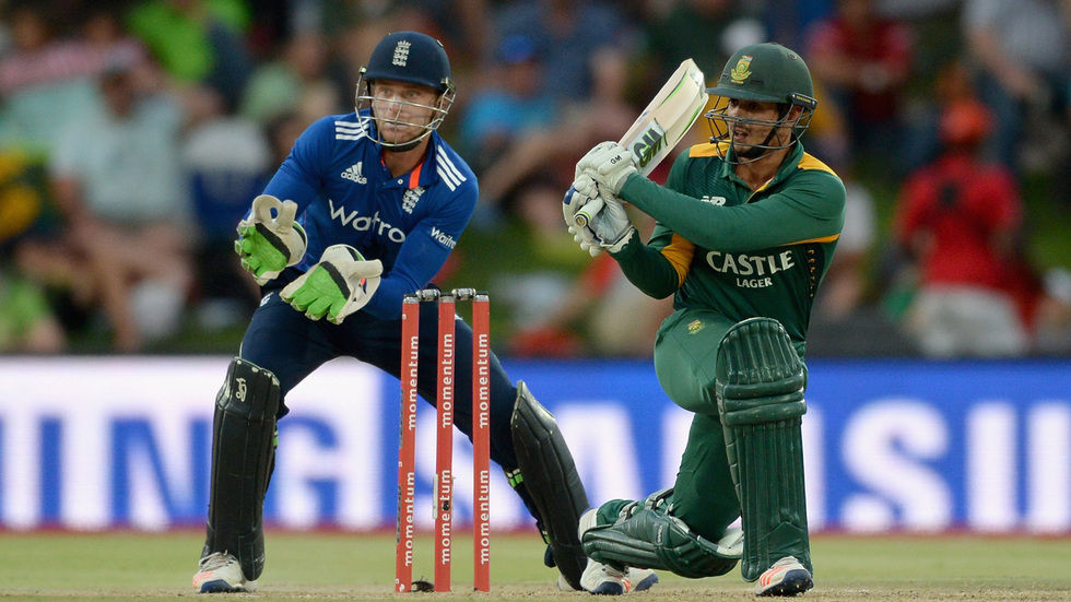 Proteas' batsman Quinton de Kock strikes the ball.