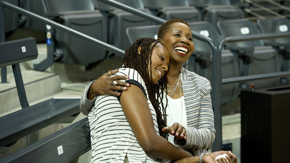 Iyanla with Chamique Holdsclaw.