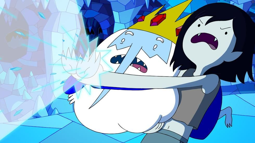 Ice King and Marceline in Adventure Time: Stakes on DStv Now.