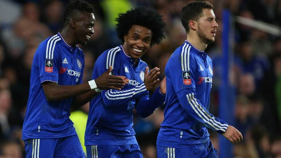 Chelsea players celebrate.