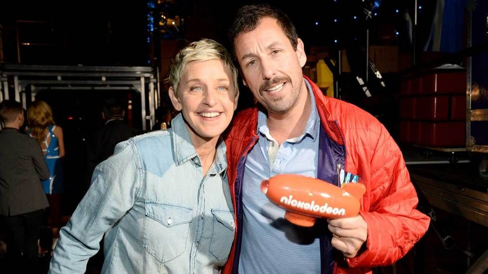 Ellen DeGeneres and Adam Sandler at the Nickelodeon's 2016 Kids' Choice Awards.