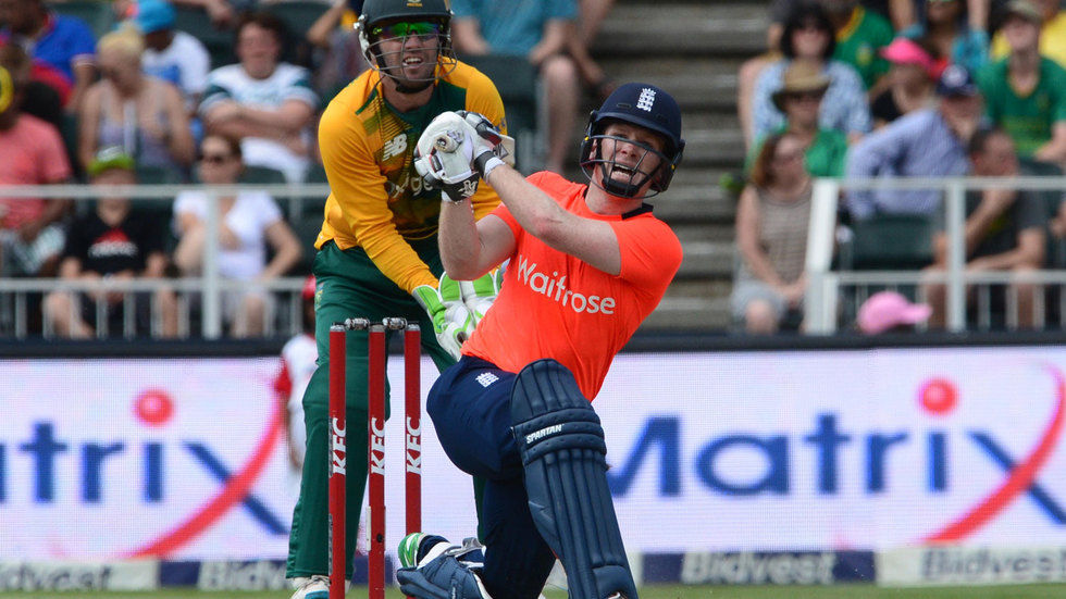 Eoin Morgan hits the ball.