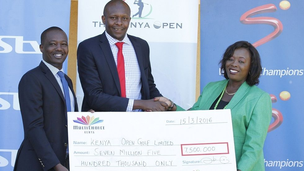 MultiChoice Kenya Communications Manager, Philip Wahome and SuperSport General Manager, Auka Gecheo hands over sponsorship cheque to Kenya Open Golf  tournament¹s Publicity & Marketing Director, Kathleen Kihanya