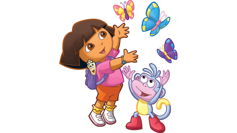 An image of Dora and Boots playing with butterflies.