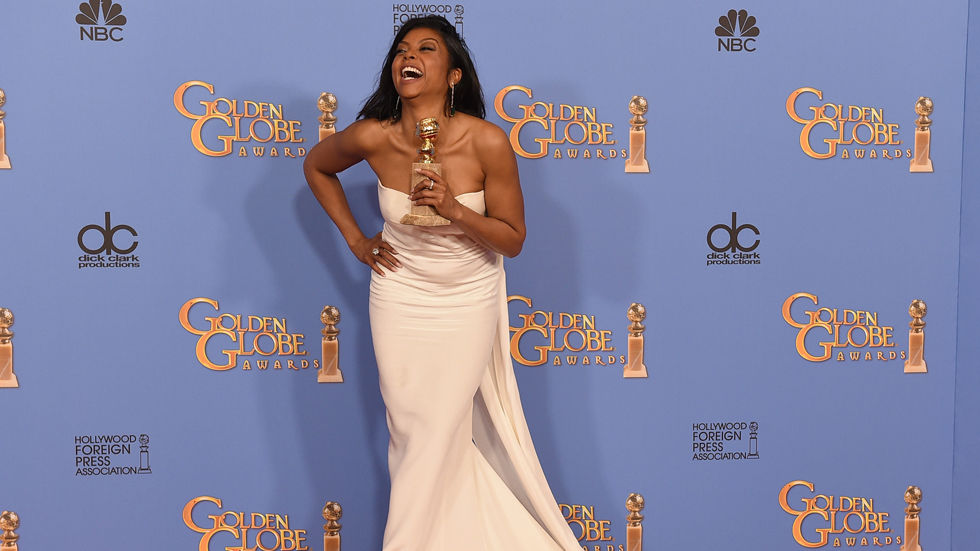 Empire actress Taraji P Henson after winning at the Golden Globe Awards for her portrayal of Cookie Lyon
