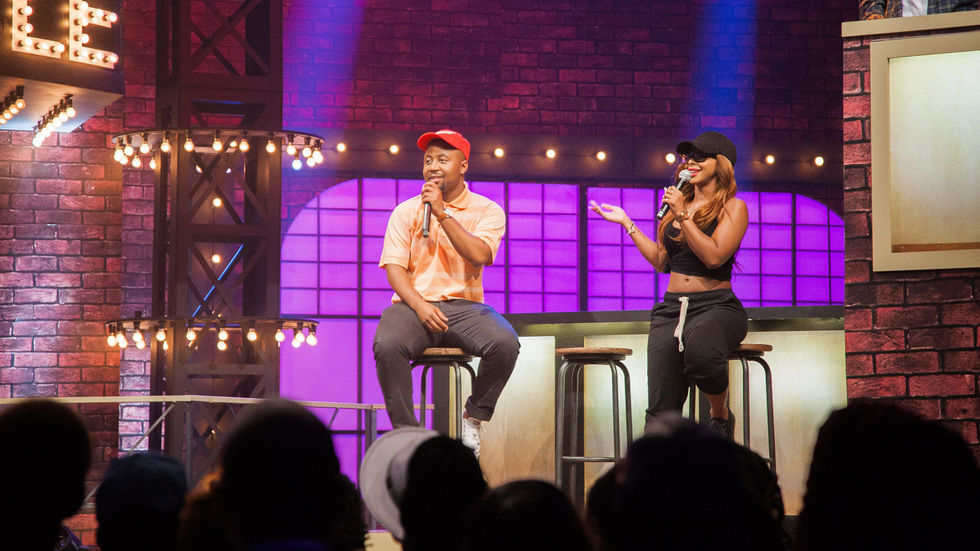 Cassper Nyovest and Boity Thulo on the Lip Sync Battle Africa stage.
