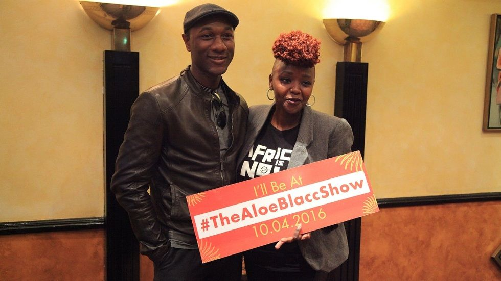 Artist Aloe Blacc with Muthoni the Drummer Queen
