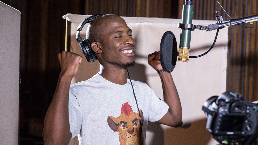 Karabo Mogane in the studio.