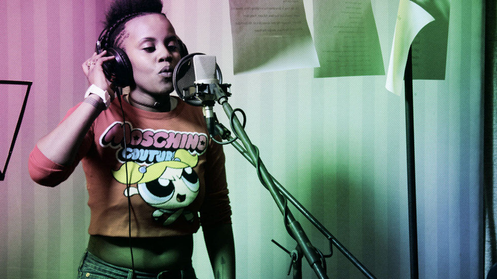 Toya Delazy in the recording booth.