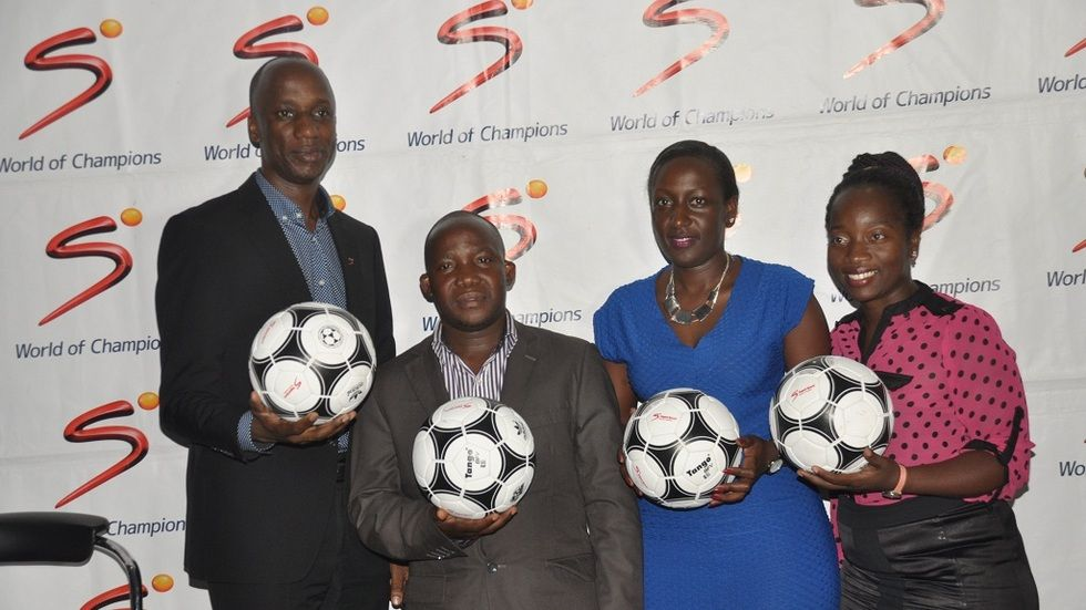 From (L-R) Charles Hamya GM MultiChoice, John Kiryowa Sales Manager DStv, Phoebe Nakabazzi DStv Marketing Manager and Tina Wamala PR Manager officially unveil the Euro 2016 tournament at SuperSport