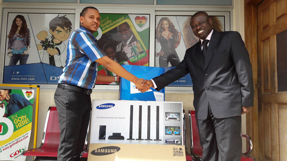 Omar Fawell, MultiChoice Ghana Retention Manager with Karl Tuffuor