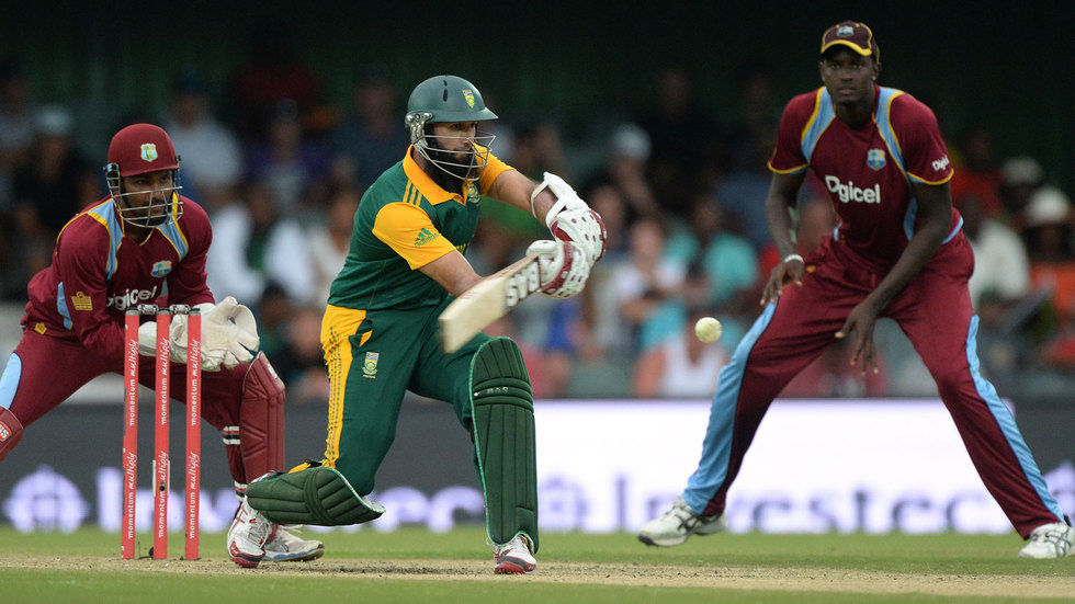 Hashim Amla hits the ball.