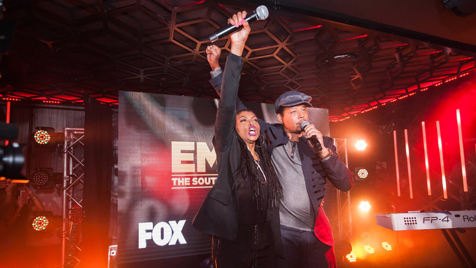 An image from the #lyonsinjoi tour with Terrence Howard and Taraji P Henson