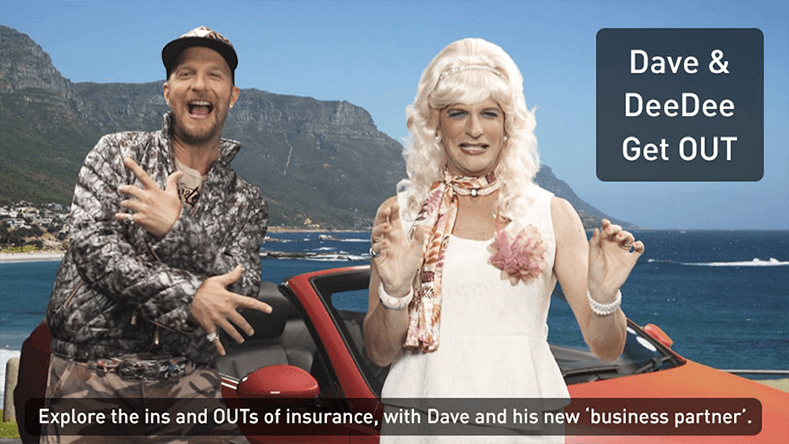 Brands on Demand - article image with the characters Dave and DeeDee with a car to promote Outsurance