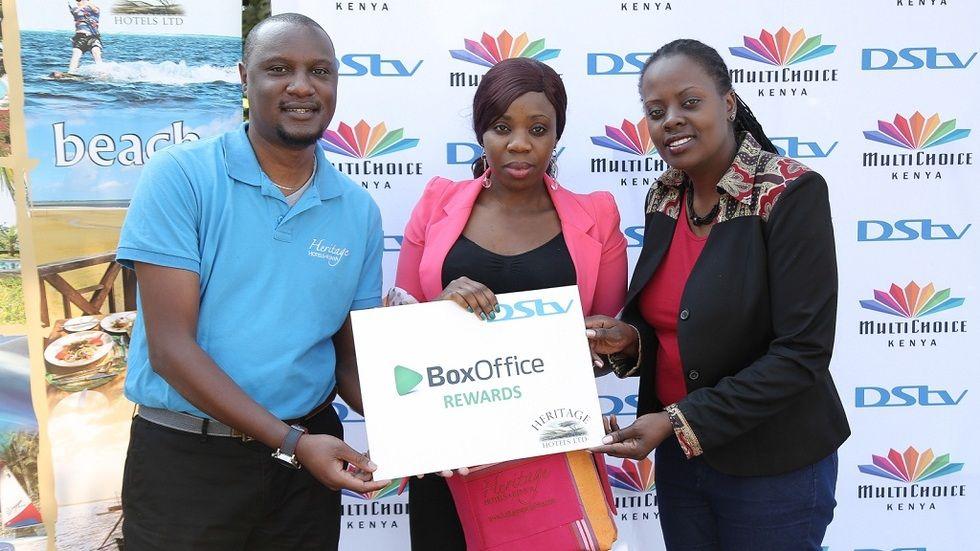 BoxOffice winner being rewarded at MultiChoice Kenya office