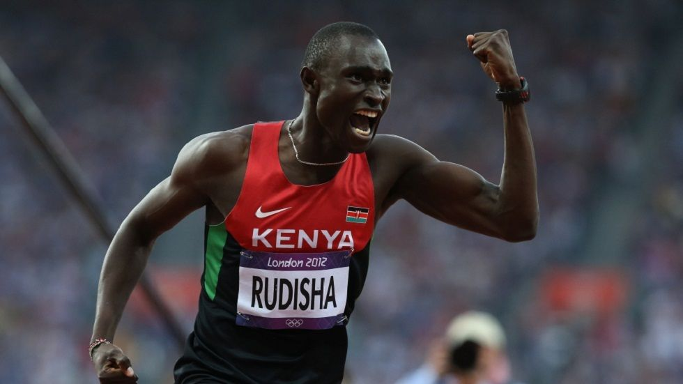 David Rudisha reacts after setting a new world record during the 2012 London Olympics