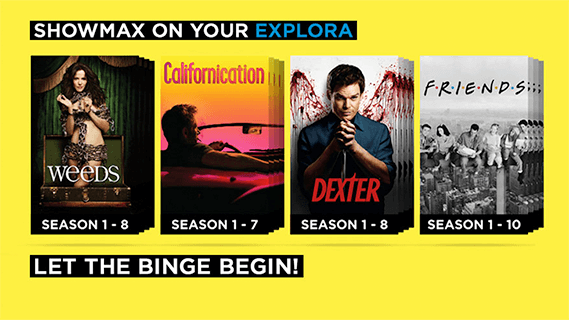Brands on Demand - Showmax on the Explora Image with Weeds, Friends, Dexter, Californication box sets