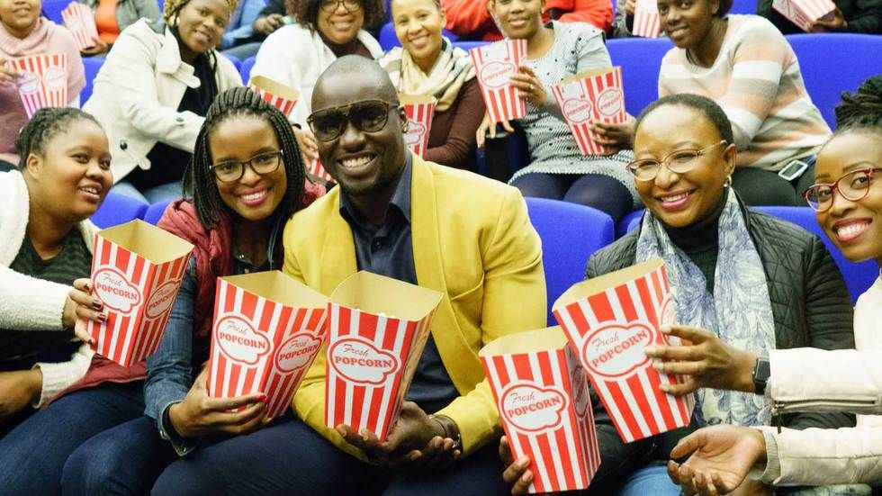 Chris Attoh at the cinema with fans.