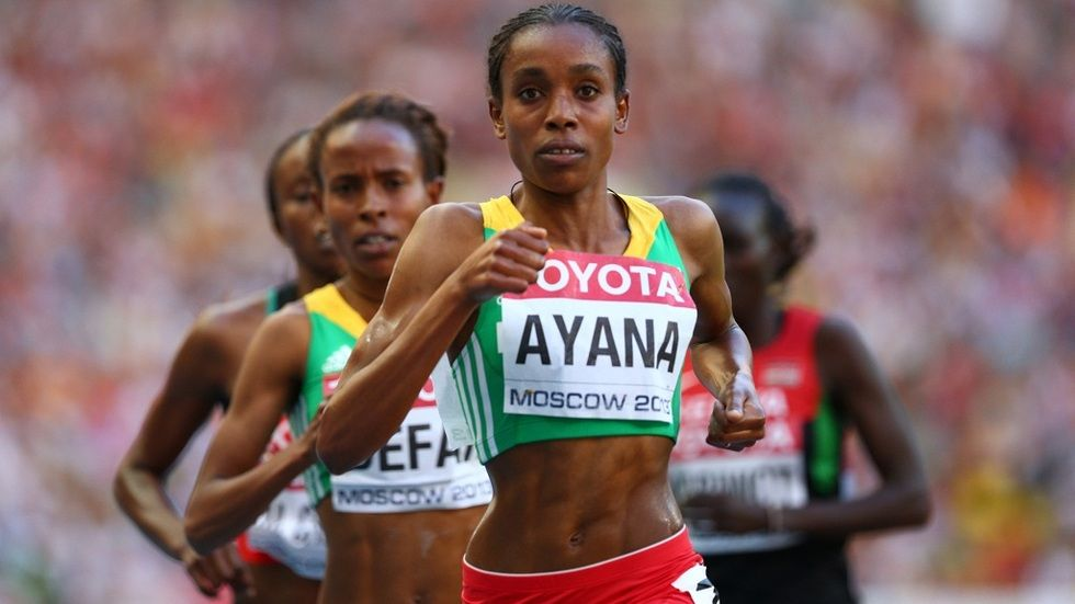 Ethiopian athlete Almaz Ayana leading the pack at a past race