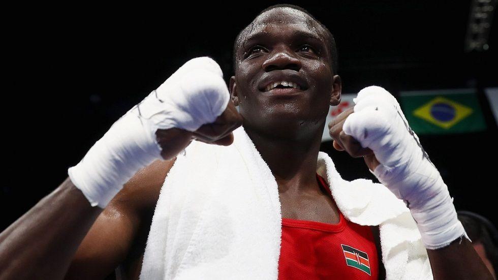 Kenyan boxer Rayton Okwiri in the Rio Olympics