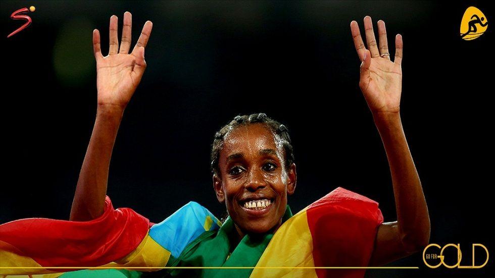 Almaz Ayana representing Ethiopia in the Rio Olympics