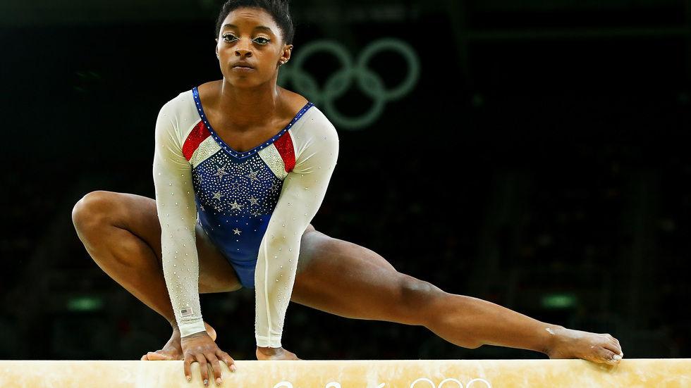 US gold medalist Simone Biles on the beam