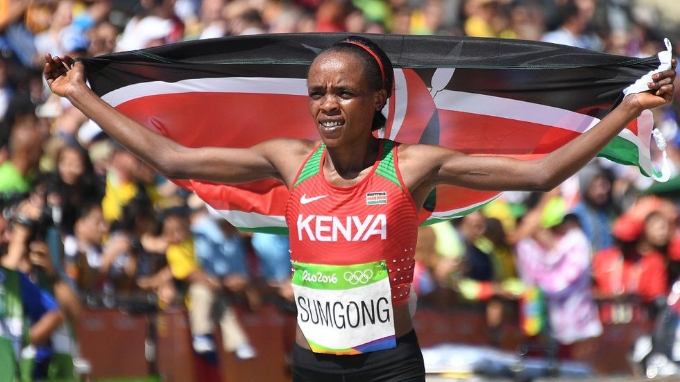 Olympian Jemimah Jelagat Sumgong after winning the gold medal for Kenya