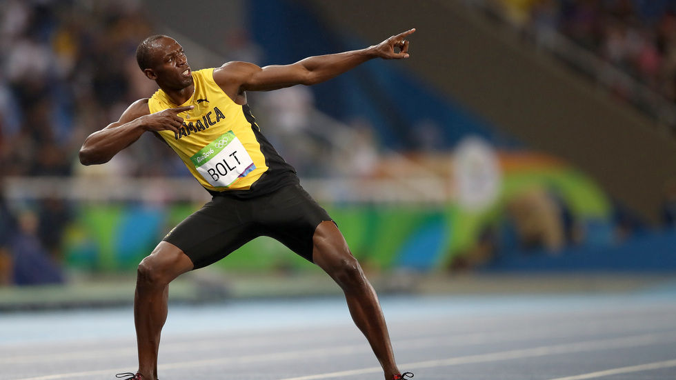 Bolt makes his famous pose after winning the 200m final in Rio
