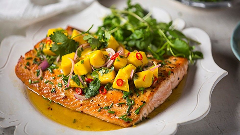 Reza, Seared Salmon with Merry Mango Salsa, recipe, new, Food Network